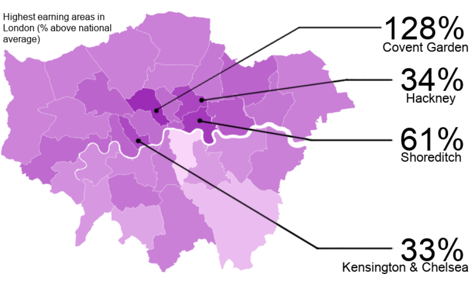 A map showing the highest earning areas in London for nail technicians.