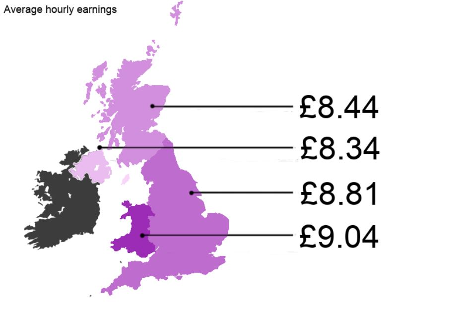 A map showing nail technician salary differences in the home nations.